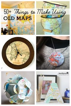 This will be great for my travel inspired guest bedroom! 50 Best DIY Projects to Make Using Old Maps