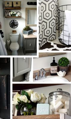 vintage industrial bathroom makeover collage 1 420x700 Vintage Industrial Glam Bathroom Reveal