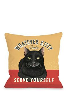 Whatever Kitty Cafe Zippered Pillow