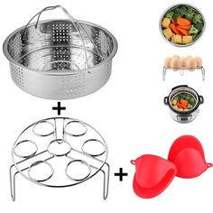 3 Pieces Steamer Basket With Egg Steamer Rack Trivet for Instant Pot And Pressure Cooker Accessories, Fits Instant Pot 8 qt, Anti-scald Gloves Free Pressure Cooker Price, Pressure Cooker Reviews, Instant Pot Pressure Cooker, Instant Pot Steamer Rack, Best Steamer, Cooling Racks, Steamer Recipes, Steel Material, Baby Food Recipes