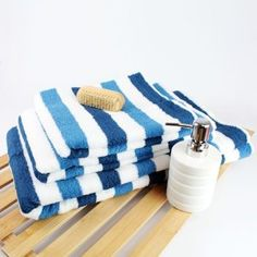 blue striped towel over teapot=images   Miami Striped Towel - Blue - Hand Towel: Amazon.co.uk: Kitchen & Home