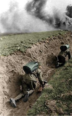 Soviet soldiers in trenches | by Za Rodinu