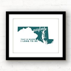 Maryland art  Maryland print  Baltimore by PaperFinchDesign