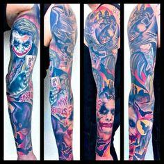 Batman and the joker tattoo sleeve