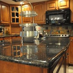 Honey Oak Kitchen Cabinets With Black Countertops  Pearl Or - Granite countertops with backsplash ideas