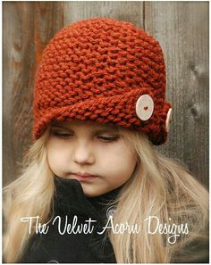 Rockford Cloche' Knitting pattern by The Velvet Acorn Baby Knitting Patterns, Knitting For Kids, Knitting Projects, Crochet Patterns, Bandeau Crochet, Crochet Baby, Knit Crochet, Velvet Acorn, Kids Hats