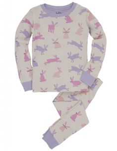 Soft Bunnies Pyjamas by Hatley.   This sweet 2-peice girl's pyjama set has:  Long sleeves and long trousers,  An all over Bunnies print,  Contrasting arm & neck cuffs.