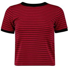 Boohoo Emma Ribbed Contrast Ringed Tee | Boohoo (£9.54) ❤ liked on Polyvore featuring tops, t-shirts, shirts, crop tops, tees, t shirt, red t shirt, crew neck t shirt, basic t shirt and jersey t shirt