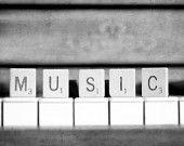 Spell Music- black and white photography print-piano keys, scrabble-silver, gray, grey-Home/Music Studio Decor, Wall art, Pianist Gift. $120.00, via Etsy.