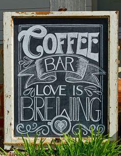 Coffee Bar – Love is brewing! Chalkboard by Caroline's Lettering Co. carolinesle… Coffee Bar – Love is brewing! Chalkboard by Caroline's Lettering Co. Chalkboard Wedding, Coffee Chalkboard, Chalkboard Signs, Bridal Shower Chalkboard, Chalkboard Ideas, Coffee Bridal Shower, Coffee Bar Wedding, Brunch Wedding, Donut Bar Wedding