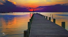 The eastern shore of Mobile Bay in Alabama. Sunset in Fairhope