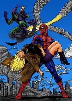 Spider-Man, Gwen Stacy & Green Goblin by Al Rio