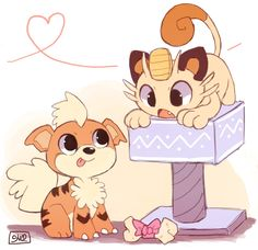Growlithe and Meowth