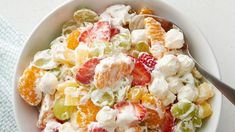 Betty's own unique take on the classic ambrosia fruit salad cleverly combines refrigerated vanilla pudding, miniature marshmallows and frozen whipped topping with fresh and canned fruit. Healthy Dinner Recipes For Weight Loss, Salad Recipes For Dinner, Fruit Salad Recipes, Dessert Recipes, Pudding Recipes, Fruit Dessert, Fruit Party, Pudding Desserts, Healthy Recipes