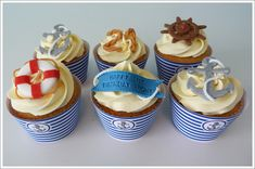 images of nautical themed cookie gallery Nautical Theme Cupcakes, Nautical Party, Cupcake Cases, Cupcake Toppers, Classy 21st Birthday, Retirement Party Themes, 21st Party, Girl Cupcakes, Tasty