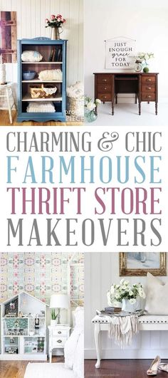 Charming and Chic Farmhouse Thrift Store Makeovers that are totally going to inspire you to create your own Makeover Masterpiece! You will learn new tricks and techniques! Find out about new items out there that help you with your creations and the best part... INSPIRATION and IDEAS!!! #Makeover #FurnitureMakeovers #FarmhouseFurnitureMakeovers. #Farmhouse #DIYFarmnouseMakeovers #ThriftStoreMakeovers #FarmhouseThriftStoreMakeovers #ThriftStore