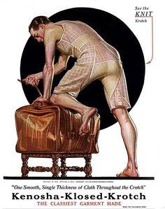 Kenosha Klose Krotch underwear, Illustration by J C Leyendecker Mode Vintage, Vintage Ads, Vintage Posters, American Illustration, Illustration Art, Vintage Underwear, Men's Underwear, Jc Leyendecker, Mode Masculine