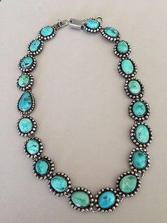 Stunning FEDERICO JIMINEZ Vintage Turquoise Necklace - 19 would looooove to rock something like this for my wedding Stone Jewelry, Silver Jewelry, Vintage Jewelry, Silver Earrings, Silver Ring, Jewlery, Vintage Turquoise Jewelry, Gold Jewellery, Bridal Jewellery