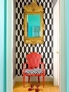 Pop of color on the chair. Brought to you by Glidden paint