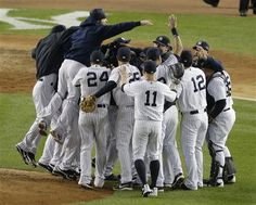 ALDS GAME 5: Friday, Oct. 12, 2012 - The New York Yankees celebrate after winning the American League division baseball series after beating the Baltimore Orioles 3-1 in Game 5 in New York.