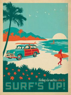 CC Surf's Up! - The Coastal Collection is breezy, casual, whimsical and nostalgic. Inspired by vintage nautical travel posters, we've set out to create a collection of brand new designs that will make you as happy as if you were sitting on the coast. This bright print will remind you that nothing else matters when the Surf is Up!<br />