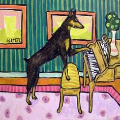 doberman pinscher piano picture coaster dog art tile impressionism gift