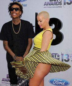 Amber Rose's bare derriere was revealed as her skirt blew up on the red carpet as she attended the 2013 BET Awards with fiance Wiz Khalifa in Los Angeles, California on Sunday Wiz Khalifa, Amber Rose, Crazy Celebrities, Hollywood Celebrities, Celebs, Celebrities Fashion, Celebrity Dresses, Celebrity News, Celebrity Style