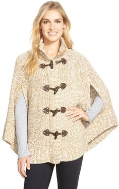 MICHAEL Michael Kors Toggle Front Sweater Knit Cape