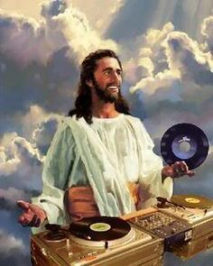 "No doubt about it !! The record Jesus is playing would be ""Heaven must be missing an angel "" by ""Tavares"" !!"