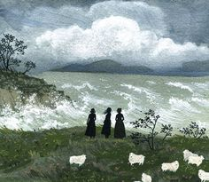 J'ai pas trop bien compris si c'était l'effet voulu, mais cette peinture de Becca Stadtlander me fait penser aux sœurs Brontë.