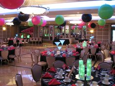 Club Themed Party- center pieces, balloons, gold pic frames with Jahleen throughout the years