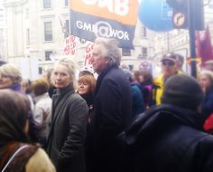 "alanrickmandaily: "" When Men Protest: Alan attends London protest today Lindsay and Alan should have put a on short play. """