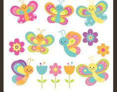 Mariposa prediseñadas / imágenes prediseñadas de mariposa / flor Clipart / flor Clip Art / insectos imágenes prediseñadas / Bugs Clip Art / comercial & Personal