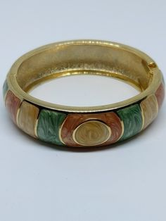 1980s Vintage Green Brown and Beige Enamel Bangle with Goldtone lining