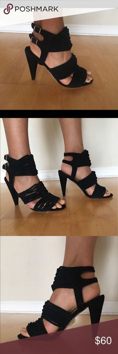 """Reiss black kid suede leather woven sandal size 39 Brand new Boho Chic Reiss sandal in soft black woven kid suede leather.   Real leather upper & outside.  Size 39.  4"""" heel height Reiss Shoes Sandals"""