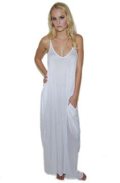 Harem Pocket Maxi Dress in White