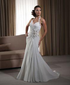 New Corset Wedding Gown with Beaded Halter Ruchiing Hemline