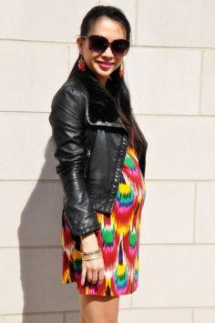 Ikat print dress | black leather motorcycle jacket maternity style #maternitymonday