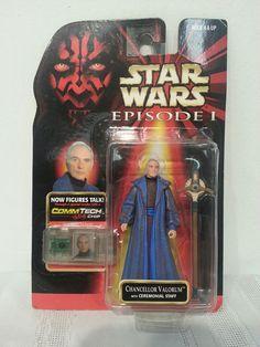 Star Wars Episode I Chancellor Valorum w/ Ceremonial Staff  Commtech Chip 1998 #Hasbro