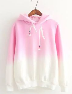 Gradient Color Korean Hooded Long Sleeves Hoodie - Meet Yours Fashion - 1 Lazy Outfits, Cute Casual Outfits, Fashion Outfits, Trendy Hoodies, Cool Hoodies, Pink Hoodies, Korean Fashion Trends, Trendy Fashion, Kawaii Clothes