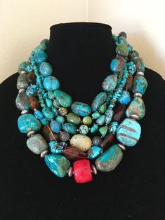 19-20 12 Artisan Made Beaded Chunky 14mm Faceted Citrine and Natural Green Turquoise and Sterling Statement Necklace