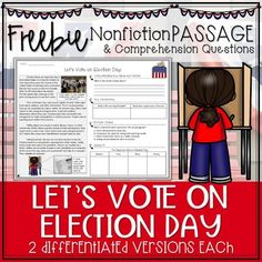 Election Day Voting Nonfiction Passage FREEBIE - Distance Learning Election Day, Election Votes, Close Reading Strategies, Guided Reading Groups, Nonfiction, 2nd Grade Reading Worksheets, 3rd Grade Social Studies, Text Features, Comprehension Questions