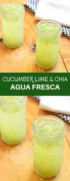 Cucumber Lime and Chia Fresca - Onion Rings & Things Cucumber Lime and Chia Fresca is a refreshing drink you'd want all summer long. With fresh cucumbers, freshly-squeezed lime juice, and superfood chia, this aqua fresca is a delicious way to hydrate! Agua Fresca Recipe, Healthy Smoothies, Healthy Drinks, Smoothie Recipes, Making Smoothies, Simple Smoothies, Juice Drinks, Healthy Juices, Bon Appetit