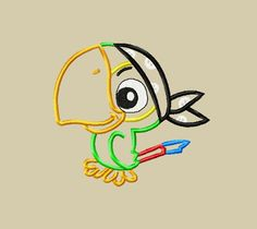 Design -Sully Parrot Pirate Machine Applique Embroidery Design 4x4 5x7 and 6x10. $3.75, via Etsy.