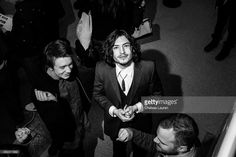 Actors Thomas Mann (L) and Ezra Miller attend the 'The Stanford Prison Experiment' premiere during the 2015 Sundance Film Festival on January 26, 2015 in Park City, Utah.