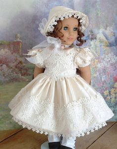 1850's Silk Promenade Dress and Bonnet for by MyGirlClothingCoHeir from a Dollhouse Designs pattern