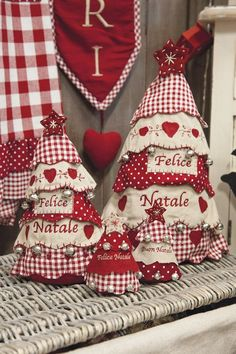 I would make these with green checks and prints, but they are pretty in red and white, also. Christmas Makes, Noel Christmas, Country Christmas, Homemade Christmas, All Things Christmas, Christmas Ornaments, Fabric Christmas Trees, Xmas Tree, Christmas Projects