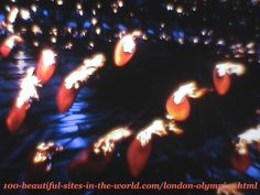 London Olympics 2012. The copper petals before raising the main torch (the caldron)