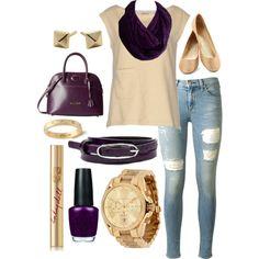 """Purple Ruffles Casual"" by xoashbashxo on Polyvore Infinity Scarf Outfits, Ruffles, Fashion Inspiration, Purple, Casual, Polyvore, Viola"