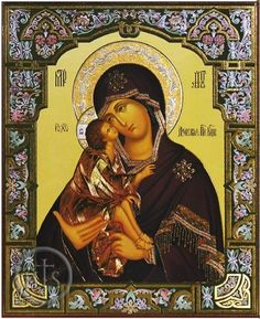 "he Donskaya icon of the Mother of God Eleousa or ""Our Lady of the Don."" The Child is wearing sandals, whereas in most copies he is barefoot. The Child barefoot is a symbol of humility; it also relates to the Passion of the Lord."